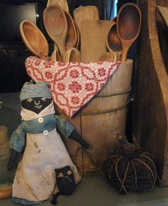 Love these old spoons and the primitive doll as well....Small Town Primitives