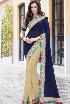 Beige and blue designer party wear saree - Desi Royale