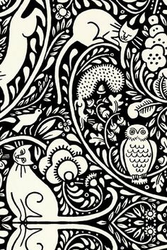 Bohemia Black/White Cats fabric by Julie Paschkis for In the Beginning Fabrics
