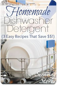 Want to make your own #dishwasher #detergent?  It is so much less expensive and there are many different ways to make it!