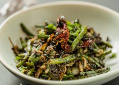 Not just seafood, we have ample options for vegetarians and vegans on our menus too! Vegan wok stir fried Szechuan String Beans and olives available on our dinner menu. Dinner Menu, Vegans, Wok, Olives, Japchae, Stir Fry, Food Styling, Mumbai, Seafood