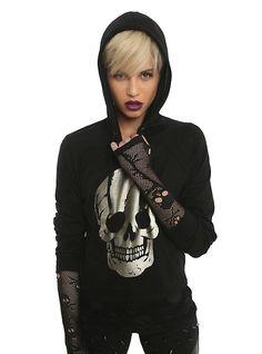 Gold Foil Skull Girls Hoodie, BLACK