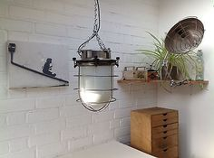 Vintage Industrial Light-Ceiling Pendant White Glass Shade & Cage-Bathrooms E27