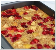 A friend shared her recipe for baked oatmeal with me, after I tried it and loved her version.  I tweaked it to my likes, and cleaned it up...