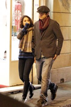 Ashton Kutcher and Mila Kunis strolling in Rome. 11/19/2012