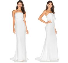 Sleek strapless REVOLVE wedding dress
