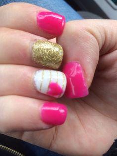 Nautical Valentine's nails