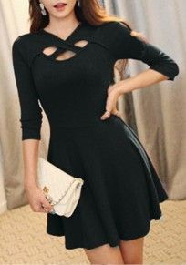 Black Plain Hollow-out Draped A-line 3/4 Sleeve Sexy Homecoming Club Mini Dress
