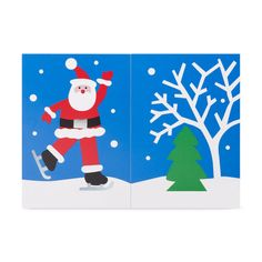 Skating Santa Holiday Cards - Set of 8 in color Account History, Red Envelope, 3d Cards, Skating, Trinidad And Tobago, Envelopes, Holiday Cards, Merry Christmas, Greeting Cards