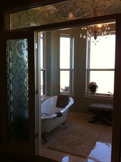 stained glass doors interior | Stained glass door and interior transom beveled inserts