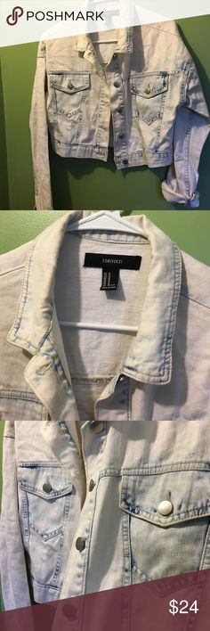 Denim washed light semi cropped jacket Size medium/ long sleeve/ light washed/ great condition/ great with high waisted jeans skirts and dresses Forever 21 Jackets & Coats Jean Jackets