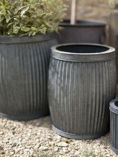 Fluted zinc planters ; Gardenista Williams Sonoma