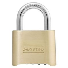 Master Lock Padlock, Set Your Own Combination Lock, 2 in. Wide, 175D - Quality padlocks from the world's largest padlock manufacturer, Master Lock. All Master Lock padlocks are individually tested for strength and durability, and each offers a limited lifetime guarantee. U.S.A., Shackle size 5/16-inch, lock width 2 inches and reset key included.Die-cast body.