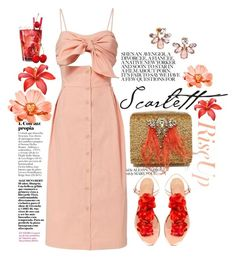"""Summer Scarlett"" by jalouze ❤ liked on Polyvore featuring Marchesa, Sea, New York and Charlotte Olympia"