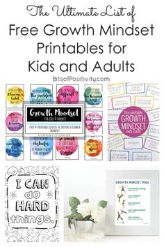 Art therapy activities printables The Ultimate List of Free Growth Mindset Printables for Kids and Adults - Bits of Positivity Growth Mindset For Kids, Growth Mindset Classroom, Growth Mindset Activities, Growth Mindset Posters, Mindfulness For Kids, Mindfulness Activities, Mindfulness Quotes, Affirmations, Bulletins