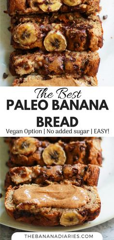 The easiest Paleo banana bread you'll ever make! No sugar added, gluten free, and dairy free, this is the best Paleo chocolate chip banana bread! A crowd pleaser for all ages!