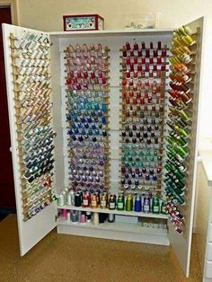 Each sewing room needs a thread storage cabinet. Never lose a threatening coil . - Each sewing room needs a thread storage cabinet. Never lose a threatening coil …, # required - Sewing Room Design, Sewing Room Decor, Craft Room Design, Sewing Studio, Sewing Rooms, Craft Room Storage, Sewing Room Storage, Craft Rooms, Office Storage