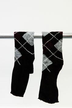 Knit Burgundy and Gray Cut Off Black Socks #A6251287