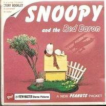 """3 Reel set of Snoopy and the Red Baron  with Booklet and Cover B544   SNOOPY AND THE RED BARON  Charlie Brown shook his head in despair. """"My dog's finally flipped. Now he thinks he's a World War I flying ace!""""  Snoopy climbed aboard his trusty Sopwith Camel and zoomed into the skies over F..."""
