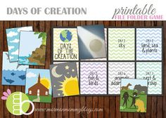 Days of Creation Printable File Folder Game