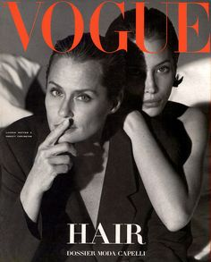 Vogue Italia April 1991-Lauren Hutton and Christy Turlington