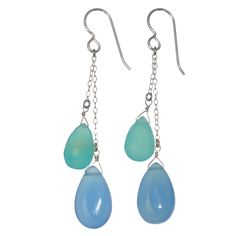 This pair of dangle earrings features two blue aqua chalcedony briolette gemstones, measuring about 16 carats, and accentuated by two carribean sea blue aqua chalcedony gemstone beads. These handcrafted earrings were designed by Sri Lankan artist Ashanti.