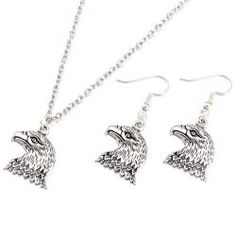 Eagle Head Necklace and Earrings