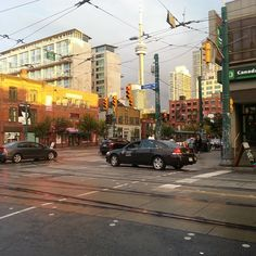 Corner of Queen and Spadina in Toronto. Sun came out this afternoon just in time for the sunset.