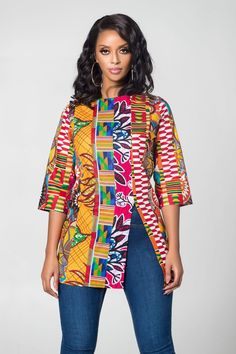 African Print Vumi Patchwork Top by grass-fields - Blouses - Afrikrea African Blouses, African Shirts, African Tops, African Attire, African Wear, African Style, African Shirt Dress, Ankara Blouse, Ankara Tops