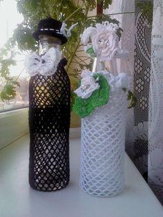 szydełkowe butelki