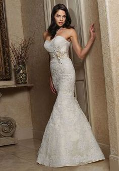 Unique Mermaid Sweetheart Lace & Satin Empire Waist Sleeveless Bridal Gowns - Lunadress.co.uk