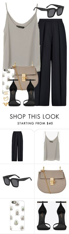 """Sin título #3723"" by hellomissapple on Polyvore featuring moda, Iris & Ink, CÉLINE, Chloé, Casetify, Yves Saint Laurent y Forever 21"