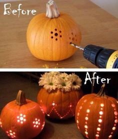 Creative Pumpkin Lanterns,So great Idea! #diy #crafts ,click to see More Popular DIY Ideas