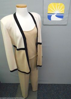 ST. JOHN COLLECTION by MARIE GRAY Beige/Black Knit Pant Top Cardigan 12W / Med #StJohnCollectionByMarieGray #PantSuit