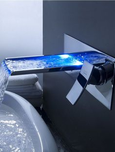$219 - LightInTheBox Sprinkle - Futuristic Color Changing LED Waterfall Bathroom Sink Faucet, Futuristic Bathroom, Wall Mount Faucet | FuturisticSHOP.com
