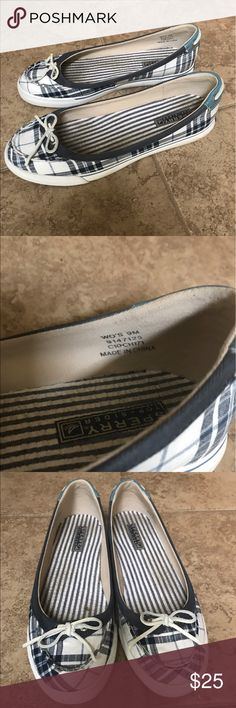 Women's Sperry slip on's REPOSH : These shoes are in great used condition and they are super cute but unfortunately they do not fit me 😕 Only sign of wear is shown in photos. They are blue and white . Sperry Shoes Flats & Loafers