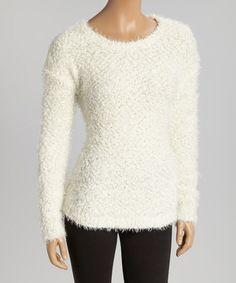 Loving this Off-White Textured Knit Sweater on #zulily! #zulilyfinds