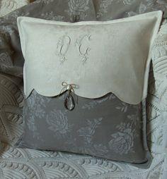 Pillow - monogram, linen, cream & grey