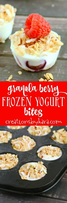 It only takes 3 ingredients to make these tasty frozen yogurt bites. A perfect summer snack! A yummy and refreshing treat.  via @creationsbykara.com