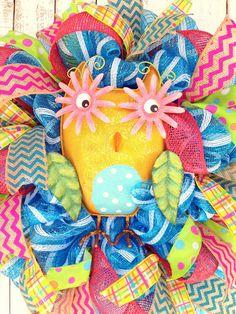 Spring Owl Wreath by aDOORableDecoWreaths on Etsy  #trendytree #springwreath