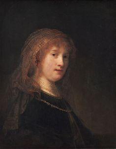 """Retrato de Saskia van Uylenberg"", (c.1635).    (by Rembrandt)."