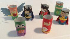 Super friends made of toilet paper rolls. Hawkman, Joker, Batman, Robin, Flash, Green Lantern and Superman.