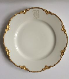 """Vintage Haviland Limoges Luncheon Plate - """"Ranson Gold"""" with """"B"""" Monogram 