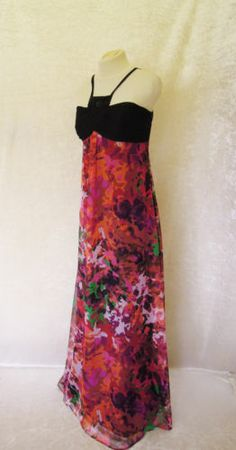 VERA MONT Black and Multi Coloured, Lined, Empire Style Maxi Dress with bead detail, size UK14