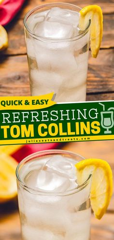Seeking to douse your spirits with some refreshing summer drinks? Tom Collins is a gin-based drink with hints of lemon perfect for some relaxation this summer. Gush over this classic cocktail this… Tom Collins Cocktails, Classic Gin Cocktails, Fun Cocktails, Cocktail Drinks, Fun Drinks, Cocktail Recipes, Party Drinks, Beverages, Easy Drinks To Make
