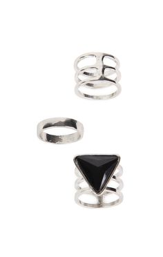 Deb Shops Set of 3 Rings with Triangle and Swirl Designs $4.80