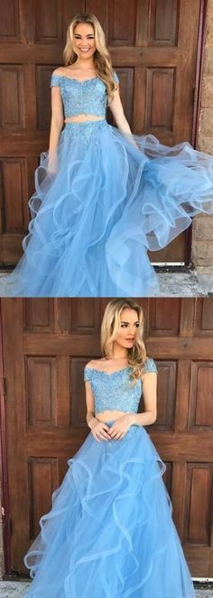 off shoulder beaded top blue two pieces long prom dress, PD5689 #fashion #shopping #dresses #eveningdresses #2018prom