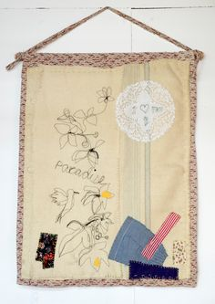 Textile Wall Hanging made from vintage blanket and by halfoften