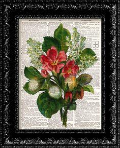 Vintage Flowers 10  Vintage Dictionary Print by TheRekindledPage, $7.98
