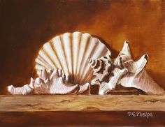 Make a bid soon, don't be sniped! sea shells, star fish, scallop, original, realism, artwork for sale oil painting #Realism